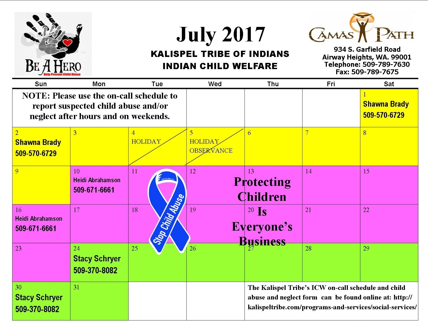 ICW On Call Calendar for July 2017